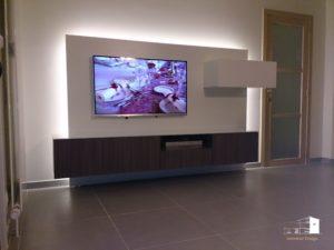 meuble tv multimédia sur-mesure, rétroéclairage bandes LED